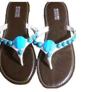 Mossimo Silver Thong Sandals with Turquoise Stones