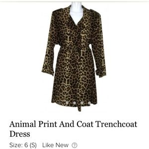 YES Outerwear - Leopard Print Dress & Trenchcoat Set