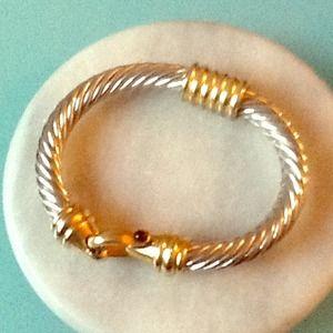 Silver and gold bangle bracelet