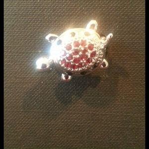 Cute genuine crystal Turtle pin