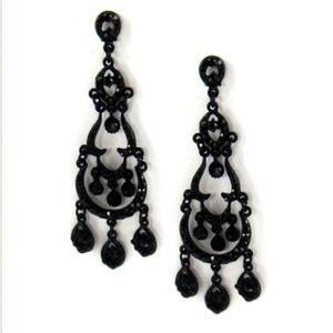 Jewelry - Black Chandelier Earrings Rhinestone Last Pair