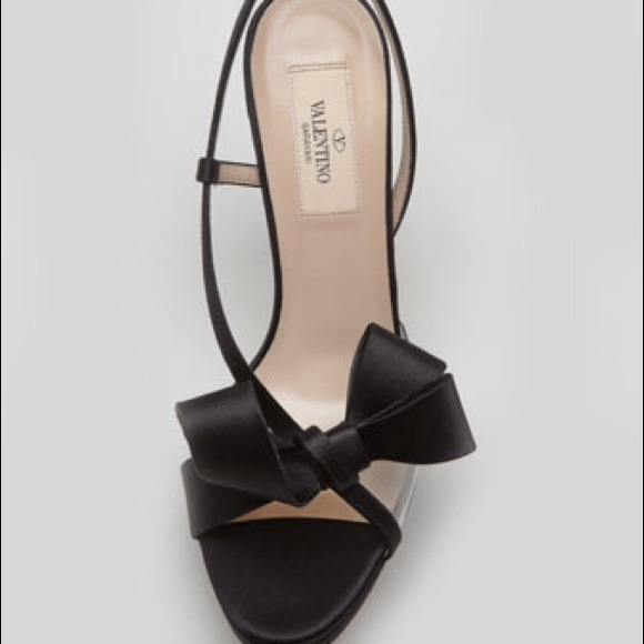 Valentino Shoes - Valentino PVC & Black Satin Bow Sandal 10 NWTB 4