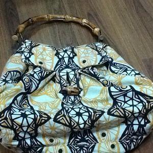 Oversized bamboo handle handbag