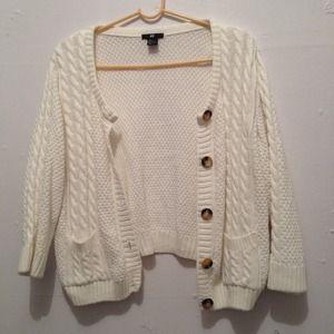 H&M cream colored knit cardigan