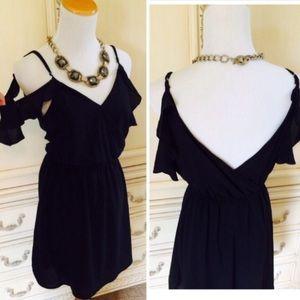 NEW Tobi Black Chiffon Cold Shoulder Flowy Dress