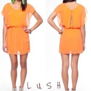 NWT Lush Orange Open Back Chiffon Dress
