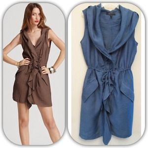 REDUCED⚡️BCBGMAXAZRIA blue twill hooded dress