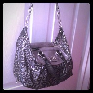 Abercrombie and Fitch winter coat Black and Grey cheetah print Coach purse