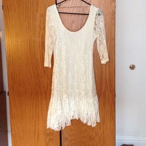 White lace dress by ecoté. From Urban Outfitters
