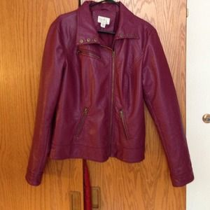 Deep pink vegan leather jacket from RD Style