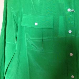 J. Crew Tops - Kelly Green JCrew silk button down