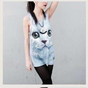 Tops - Oversized cat tank- SALE