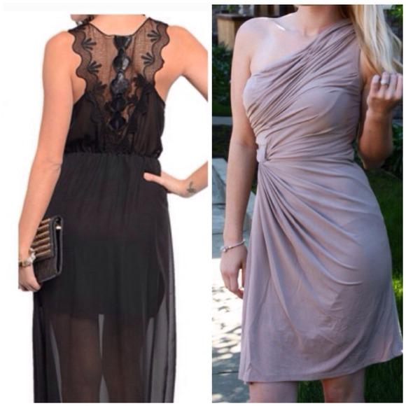Grecian Gathered Tan Dress + Black Dress