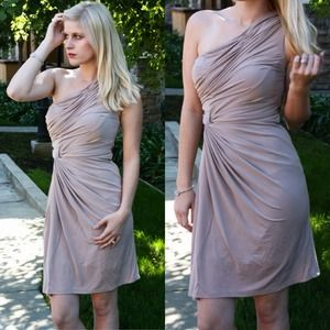 Grecian Gathered Tan Dress