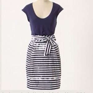 🎉Host Pick Anthropologie Blue White Stripe Dress