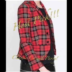 Host PickZara Red Tartan Plaid Blazer  Med