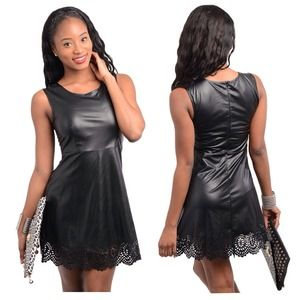 41% off Dresses & Skirts - Black Mini Skirt Faux Leather Lace Up ...