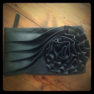 """Big Buddah"" black rosette clutch."
