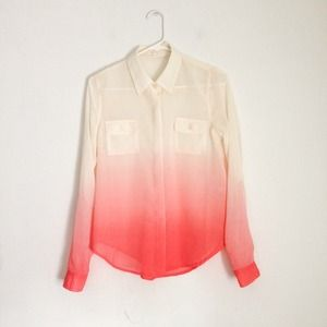Host pick. Pink and ivory ombre chiffon blouse