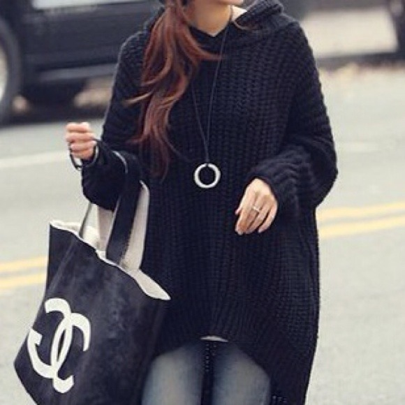 Oversized Chunky Black Cable Knit Sweater W/ Hood S, M, L from ...