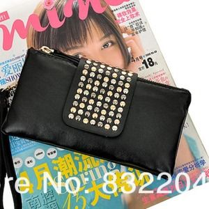 Black studded leather wristlet / wallet / clutch