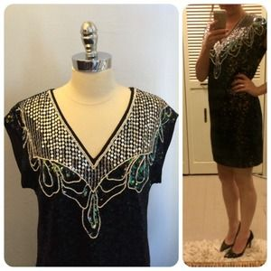 h&m // NWT sequin party dress • black
