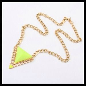 Neon Yellow Triangle Statement Necklace