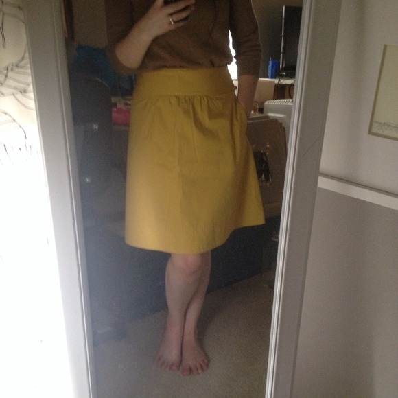 J. Crew - HOLD - J. Crew Yellow A-Line Skirt w/ Pockets from ...