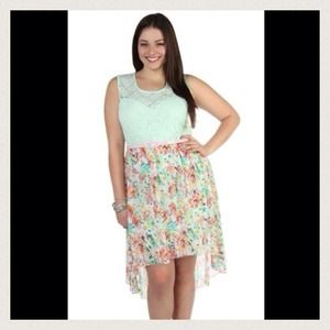 Floral high low beautiful dress with pink belt!