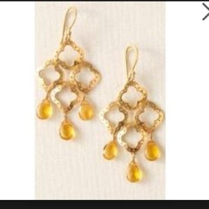 Stella and Dot gold clover earrings