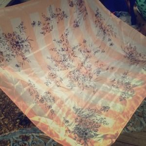 Vintage Floral and Striped Scarf