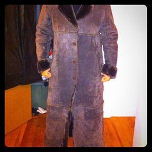 REDUCEDExpress suede and fur full length coat