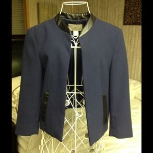H&M navy cropped blazer with leather trim
