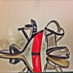 Zara black strappy shoe with red heels