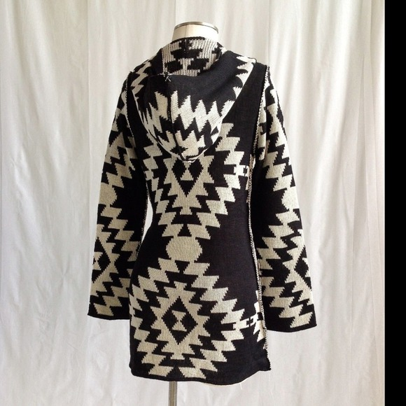 33% off Sweaters - ÉLAN Black & Cream Aztec Hooded Cardigan💋 from ...
