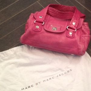 Marc by Marc Jacobs pink turn lock leather duffle