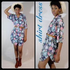 vintage 70s floral shirt dress