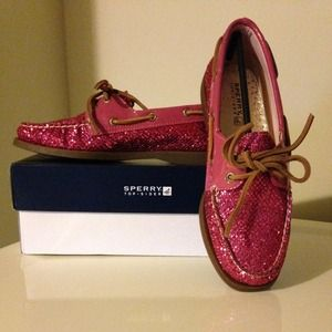 "Sperry Top-Sider Shoes - SPERRY TOPSIDER ""License Plate"" Pink Crushed Glttr"