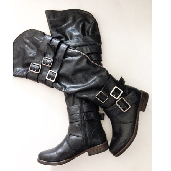 49% off just fab Boots - Black thigh high buckle riding boots from ...
