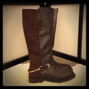 Boots - Chocolate Brown Equestrian Boot w/ Gold Stirrups