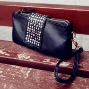 Black studs double zipper clutch wallet wristlet