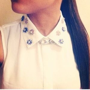 Forever 21 Tops - NWT White Sleeveless Jeweled Collar Top