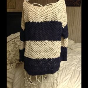 Loft navy and cream knit sweater
