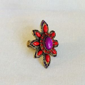 Jewelry - Fun Colorful Statement Stretch Flower Ring