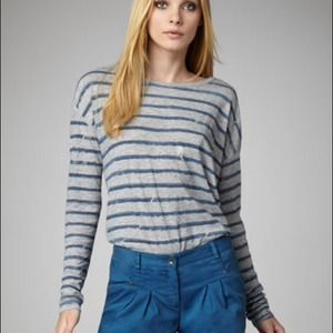 Theory Striped Distressed Top Gray/Blue L NWT