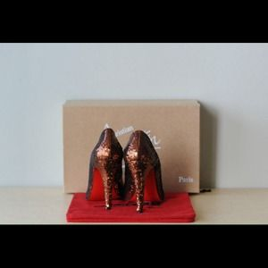 Christian Louboutin bronze sequin pump