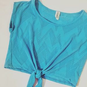 Blue Stretchy Patterned Tie Front Crop Top Small