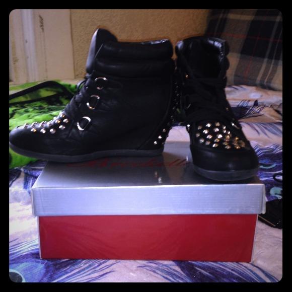 Black Studded Sneaker Wedges | Poshmark