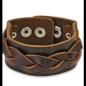 Jewelry - Genuine Brown 100% Leather, Wide Bracelet