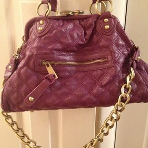 Handbags - Quilted purple bag with gold chain strap detail